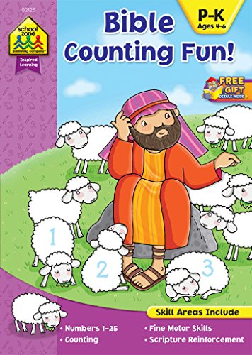 School Zone - Bible Counting Fun! Workbook, Ages 4 to 6, Inspired Learning, Numbers 1-25, Counting, Following Directions, Scripture, Illustrations, ... Book Series) (Inspired Learning Workbook) ()