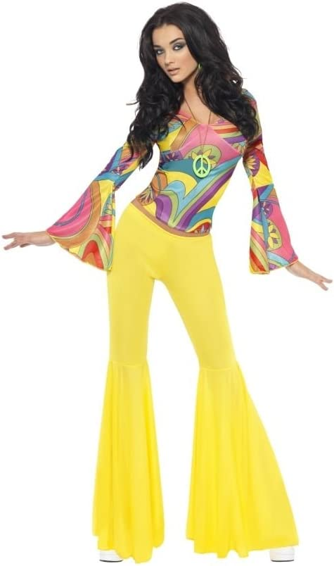 70s Hippy costume for women with yellow flared trousers and top. Two sizes.