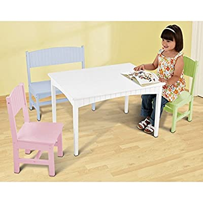 KidKraft Nantucket Table with Bench and 2 Chairs - Pastel - 26112