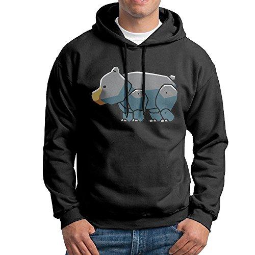FUOALF Mens Pullover Black Bear Cute Hoodie Sweatshirts Black L
