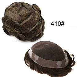 """LHC Fine Mono Men's Toupee Poly Coating Around Hairpieces Durable Hair Replacements Hair Systems for Men Hair Units 120% Light to Medium Density (8""""10"""", 410 Medium Brown+10% Gray)"""