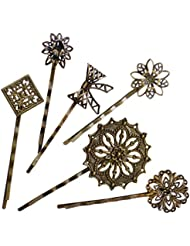 6PCS Retro Vintage Metal Hair Pin Bobby Pins Flower Bow Royal Square Bronze Accessories