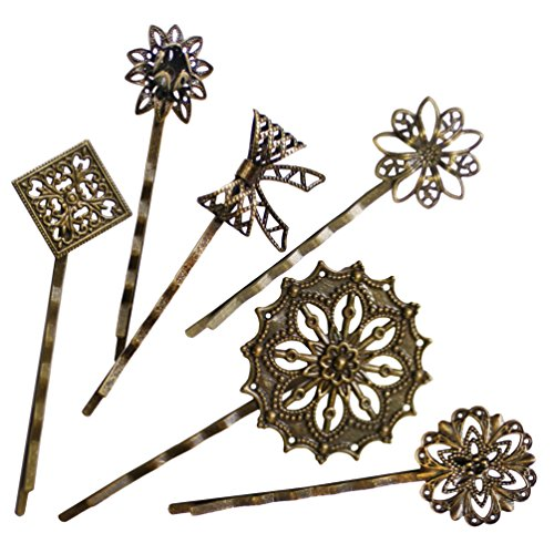 (6PCS Retro Vintage Metal Hair Pin Bobby Pins Flower Bow Royal Square Bronze Accessories)