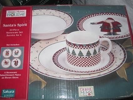 Amazon.com: Santa\'s Spirit 20-piece Stoneware Set Service for 4 ...