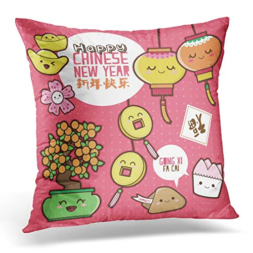 (Emvency Throw Pillow Cover Flower Orange Cookie Chinese New Year Cute Cartoon Design Translation Happy Good Fortune Pink Money Decorative Pillow Case Home Decor Square 20x20 Inches Pillowcase)