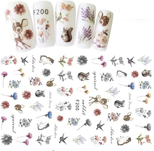 1 Sheet 3D Animal Series Nail Art Sticker Flamingo Unicorn Ocean Cat Plant Water Transfer Nails Wrap Paint Tattoos Stamping Plates Templates Tools Tips Kits Outstanding Popular Decals Kit, Type-14 ()
