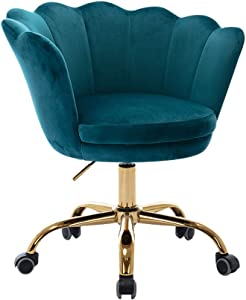 Goujxcy Velvet Desk Chair, Modern Upholstered Office Chair,360° Swivel Height Adjustable Rolling Task Chair for Home Office (Lake Green)