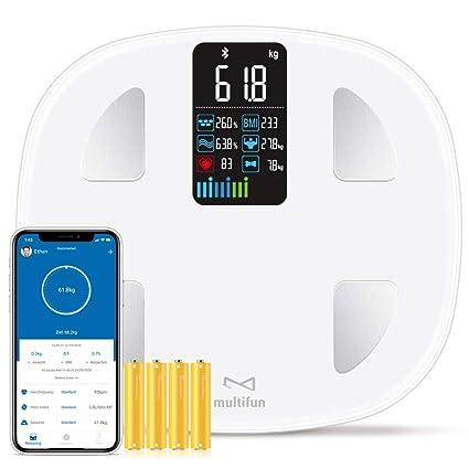 multifun Báscula digital de grasa corporal, con Bluetooth ...