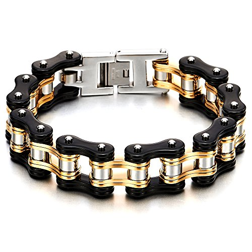 COOLSTEELANDBEYOND Heavy and Study Mens Fancy Bike Chain Bracelet Stainless Steel Silver Gold Black Tri-Tone - Bracelet Mans Fancy