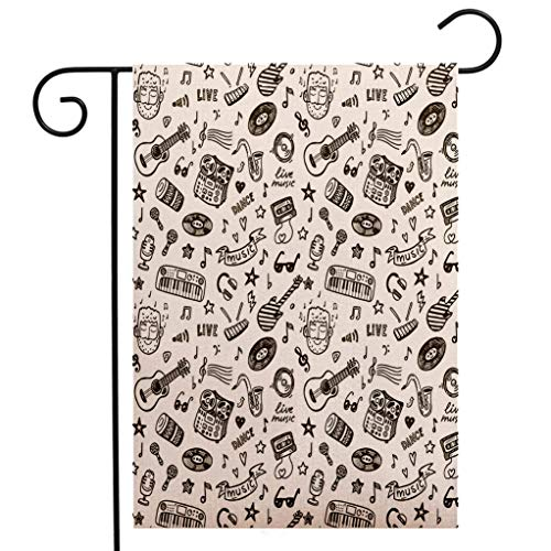 - BEIVIVI Creative Home Garden Flag Doodle Hand Drawn Music Collection of Item Bearded Musician Guitar Recorder Mic Olive Green White Welcome House Flag for Patio Lawn Outdoor Home Decor