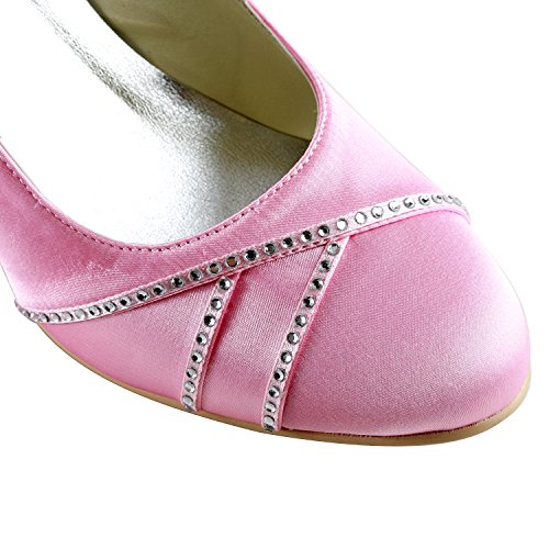 Minishion Tmz359 Mujeres Cómodo Satinado Nupcial De La Boda De La Tarde Formal Del Partido Bombas Zapatos Pink-6.5cm Talón