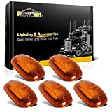 Partsam 5PCS Amber Top Roof Cab Marker Light 264146AM Light Amber Cover Lens with Base Housing Replacement for 2003-2018 Dodge Ram 1500 2500 3500 4500 5500 Pickup Trucks
