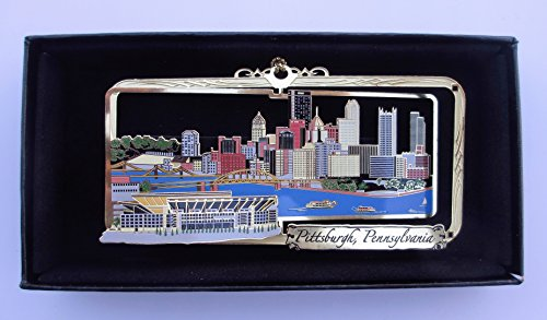 Pittsburgh PA Brass Ornament City Skyline Football - Waterfront Pittsburgh