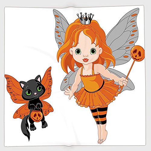 iPrint Polyester Bandana Headband Scarves Headwrap,Halloween,Halloween Baby Fairy and Her Cat in Costumes Butterflies Girls Kids Room Decor Decorative,Multicolor,for Women Men