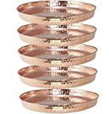 SHIV SHAKTI ARTS Handmade Pure Set Of 5 Copper Thali Plate For Dinnerware Purpose Diameter 12 In