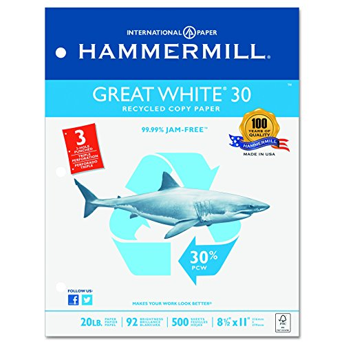 Hammermill Printing Paper, Great White Recycled Copy, 20lb, 8.5x11, Letter,  3-Hole Punch, 92 Bright, 500 Sheets / 1 Ream (086702R) Made In The (Three Hole Punched)