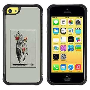 Suave TPU Caso Carcasa de Caucho Funda para Apple Iphone 5C / Hand Man Spring Deep Meaning Rose / STRONG