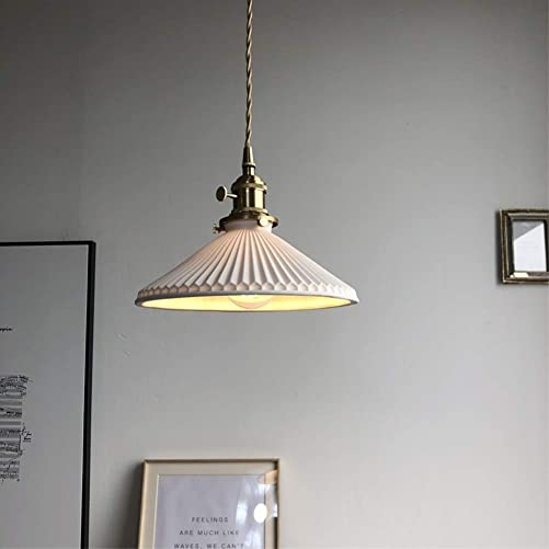 Phwii Hanging Pendant Lighting Fixture Handcrafted Ceramic Shade with Brass Finish Height Adjustable Vintage Modern One-Light Ceiling Lamp