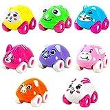 BrawljRORty Toy Cars, 1Pc Colorful Magnetic Mini Cartoon Animal Car Intelligence Kids Toy Home Decor