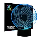 Football 3D Night Light Illusion Lamp Bedside Table Lamp, Ticent & Co 7 Colors Changing Touch Switch Desk Decoration Lamps Birthday Christmas Gift with Acrylic Flat & ABS Base & USB Cable