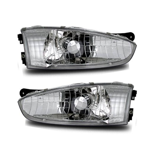 SPPC Crystal Headlights Assembly Set for Mitsubishi Mirage - (Pair) includes Driver Left and Passenger Right Side Replacement Headlamp