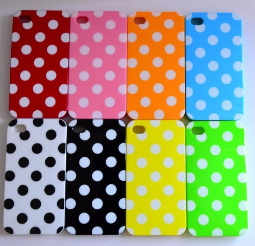 8pcs Cute Colorful White Polka Dots Gel Silicone Case Cover Skin for iPhone 4 4S+Polka Dots - Polka Colorful Cover Dots