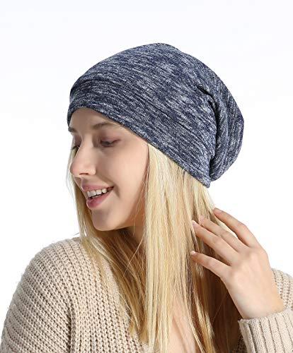 - Slap Night Cap Sleep Hat - Blue Women Organic Bamboo Cotton Satin Silk Satun Satin lined