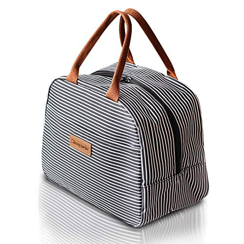 Lunch Bag Reusable Lunch Tote Bag Insulated Lunch Bags for Women Men Lunch Organizer Lunch Holder Tote (Black White Strip)
