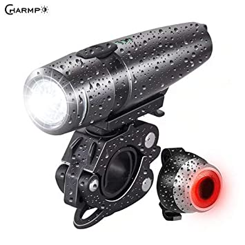 Charmp Ultra Bright Waterproof Rechargeable Bike Light,Powerful Lumens Headlight and Tail Light,LED Front and Back Rear Lights Easy to Install for Kid Men Women Road Cycling Safety Flashlight