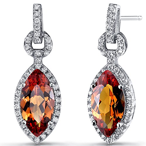 (Created Padparadscha Sapphire Marquise Dangle Drop Earrings Sterling Silver 4.5)