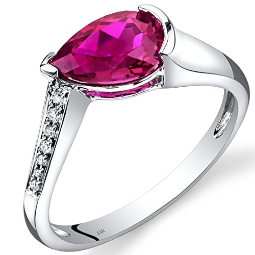 ed Ruby Diamond Tear Drop Ring 1.54 Carats Total ()