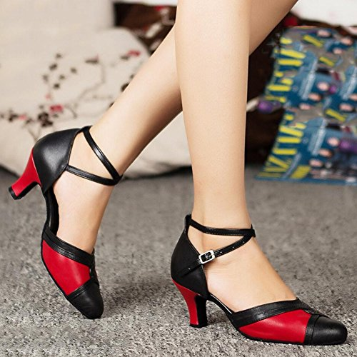 XUE Women's Latin Shoes/Ballroom Shoes Satin Sandal Indoor Buckle Heel Dance Shoes Party & Evening Red (Color : A, Size : 36) A