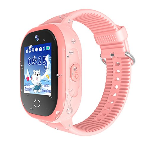 Waterproof Kids Smartwatch, GPS Tracker Phone Watch for Children Girls Boys with SOS Call Flashlight Camera Touch Screen Game Smart Watch Compatible for iOS and Android (Pink)