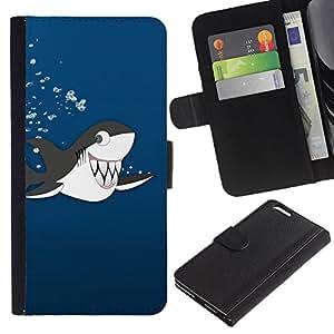 """Apple (5.5 inches!!!) iPhone 6+ Plus , la tarjeta de Crédito Slots PU Funda de cuero Monedero caso cubierta de piel ("""" Killer Whale Cartoon Drawing Shark Teeth Cute"""")"""