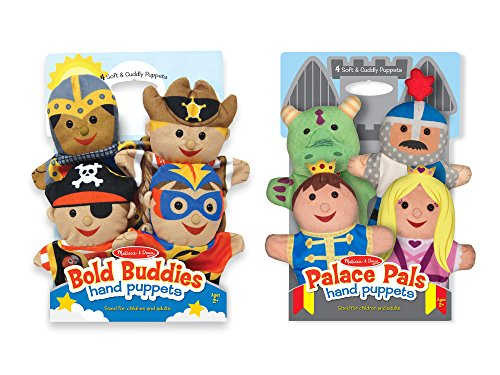 (Melissa & Doug Adventure Hand Puppets (Set of 2, 4 puppets in each) - Bold Buddies and Palace Pals)
