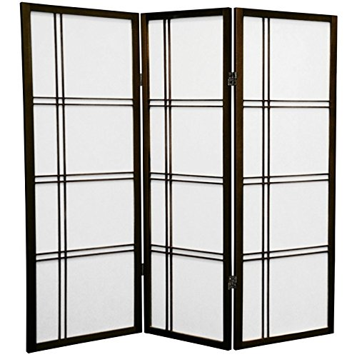 Walnut Folding Screen - Oriental Furniture 4 ft. Tall Double Cross Shoji Screen - Walnut - 3 Panels