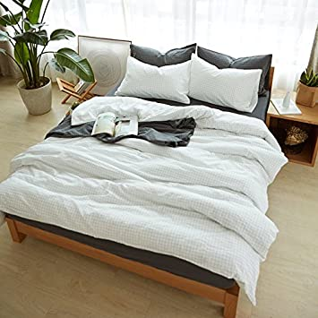 Plaid coton coton japonais lavé quatre pièces de coton d'été literie couette drap simple 1.8m -quatre pièces de drap