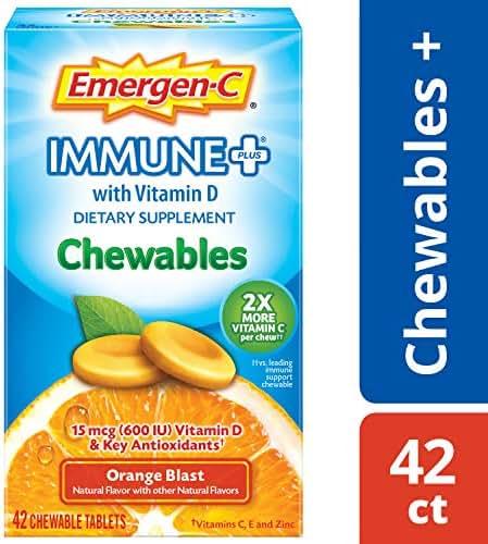 Emergen-C Immune+ Chewables (42 Count, Orange Blast Flavor) Immune System Support Dietary Supplement Tablet With 600 IU Vitamin D, 1000mg Vitamin C