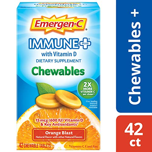 Emergen-C Immune+ Chewables (42 Count, Orange Blast Flavor) Immune System Support Dietary Supplement Tablet With 600 IU Vitamin D, 1000mg Vitamin C
