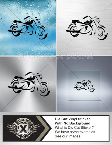 Decal Stickers Motorbike Figure White Size: 5 X 2.9 Inches Black