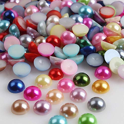 Kamas 2000pcs Half Round Acrylic Flat Back Faux Pearls Beads Scrapbooking Embellishment for DIY Phone Nails Crafts FM88 - (Color: Colorful -