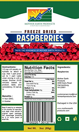 Mother Earth Products FD Raspberries (1 Quart Mylar Bag)