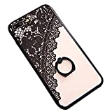 JAZ Finger Ring Stand case, Ultra Thin Hard PC Back [3D Relief Sculpture][Silicone]Case Cover With 360 Rotating Ring Grip/Stand Holder/Shockproof For iPhone 7 Plus(Black)(lace)