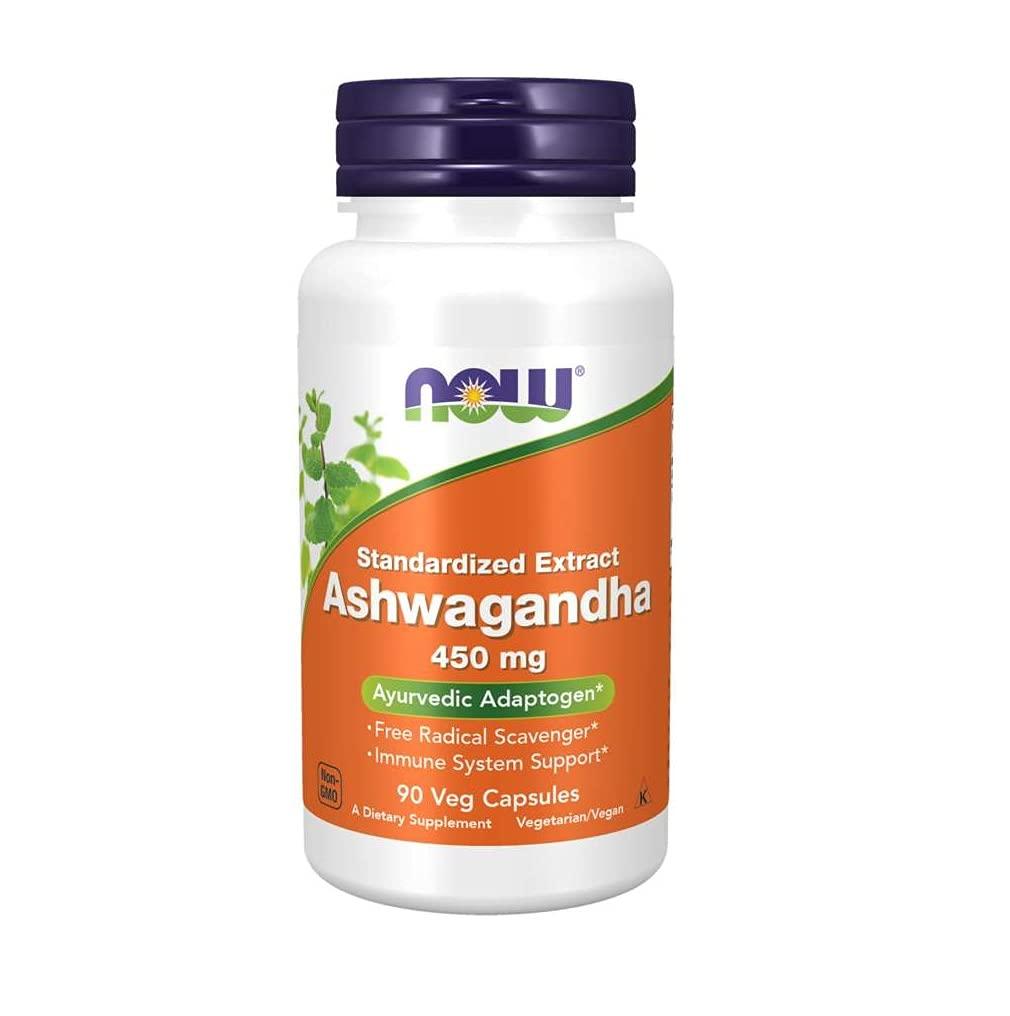 NOW Supplements, Ashwagandha (Withania somnifera) 450 Mg (Standardized Extract), 90 Veg Capsules