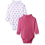 Spasilk Baby Girls 2 Pack Turtleneck Long Sleeve Bodysuit, Pink Dots, 12 Months