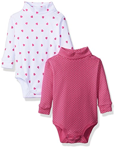 Spasilk 3552 Baby Unisex Girls 2 Pack Turtleneck Long Sleeve Bodysuit, Pink Dots, 6 Months