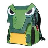 NOHOO Dinosaur Kindergarten Primary School Backpack 3D Simulation Dinosaur Skin Cartoon Bag for kid 5-8 Years (Dark Green)