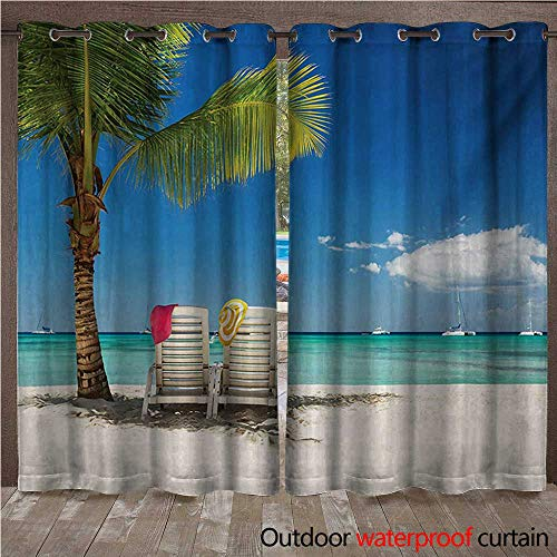 (BlountDecor Seaside Door/Gazebo Curtain Relaxing Scene on Remote Beach with Palm Tree Chairs and Boats Panoramic PictureW120 x L108 Blue)