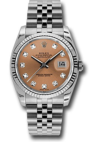 Rolex Oyster Perpetual Datejust 36mm Stainless Steel Case, 18K White Gold Fluted Bezel, Pink Dial, Diamond Hour Markers, and Jubilee Bracelet.