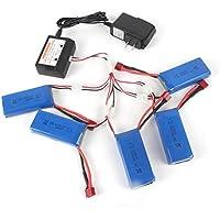 5pcs 7.4V 2200mAh Li-Polymer Battery, Emubody Li-Polymer Battery with Charger for Wltoys K949 For TAROT FY-03